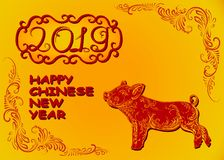Happy chinese new year 2019, year of the pig Art and technique of painting stock illustration