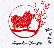 Happy  Chinese New Year  2019 year of the pig.  Lunar new year.  Stock Photos