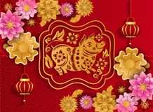 Happy Chinese New Year 2019 of pig poster from crafted cutted paper royalty free illustration