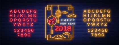 Happy Chinese New Year 2018 poster in neon style. Vector illustration. Neon sign bright greetings with new Chinese year. Of 2018, night neon advertising. Dog is royalty free illustration