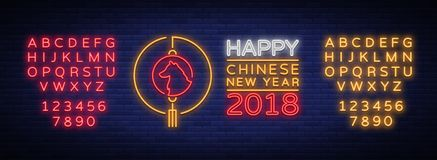 Happy Chinese New Year 2018 poster in neon style. Vector illustration. Neon sign bright greetings with new Chinese year. Of 2018, night neon advertising. Dog is vector illustration