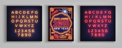 Happy Chinese New Year 2018 poster in a neon style. Vector illustration. Neon sign, brochure, postcard, bright greetings. With the new Chinese year, night neon stock illustration