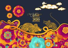 Happy chinese new year rat 2020 Zodiac sign with gold paper cut art and craft style on color Background