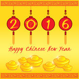 2016 Happy Chinese new year 4 red lanterns and tael gold. On yellow background Stock Photos