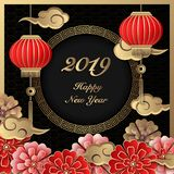 Happy 2019 Chinese new year retro gold black paper cut art and craft relief flower cloud lantern stock illustration