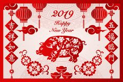 Happy 2019 Chinese new year retro red traditional frame pig flow stock illustration