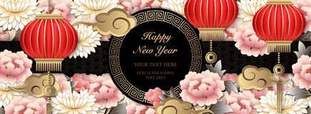 Happy Chinese 2019 new year retro relief art peony flower cloud lantern and lattice frame vector illustration