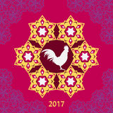 Happy Chinese new year 2017 of rooster in frame and with flowers Stock Photos