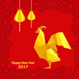 Happy Chinese new year 2017 of rooster with lantern and flowers. Happy Chinese new year 2017 of red rooster with lantern and flowers Royalty Free Stock Photo
