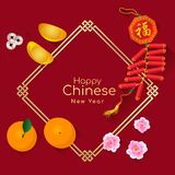 Happy Chinese new year with the sacred is Gold money , orange fruit , Peach blossom and firecracker Chinese word mean blessing o. N china frame and red Stock Photography