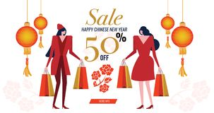 Couple red dress woman with shopping bag. Happy Chinese New Year Sale. advertise banner. vector illustration Stock Photo