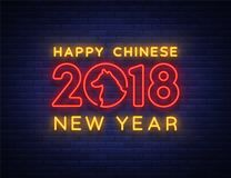 Happy Chinese New Year 2018. Sign in neon style, night flyer, advertising. Bright glowing banner Vector illustration Royalty Free Stock Photos
