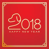 Happy chinese new year 2018 text, Dog crouch line stroke design. In chinese frame gold color isolated on red gradient background with copy space Stock Images