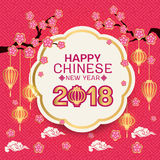 Happy Chinese new year 2018 text on Gold border white circle banner and pink flowers branch, lantern and pink china pattern abstra. Ct background vector design Royalty Free Stock Photo