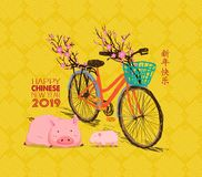 Happy Chinese new year - 2019 text and pig zodiac and bicycle. Chinese characters mean Happy New Year vector illustration