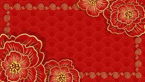 Happy Chinese new year. Traditional Chinese red horizontal banner stock photo