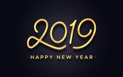 Happy Chinese New Year 2019 typography vector card. Happy New Year 2019. Gold symbol and greetings text for chinese year of the pig on black background. Premium stock illustration