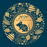 Happy Chinese New Year. The white rat is the symbol of 2020 Chinese year of the new year. Round golden vector