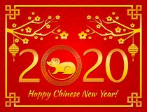 Happy Chinese New Year. The white rat is the symbol of 2020, the Chinese year of the new year. Template banner, poster, greeting cards. Sakura, rat, lantern royalty free illustration