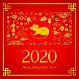 Happy Chinese New Year. The white rat is the symbol of 2020, the Chinese year of the new year. Template banner, poster, greeting cards. Sakura, rat, lantern stock illustration