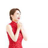 Happy chinese new year, woman with congratulation gesture Stock Images