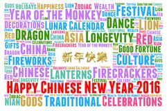 Happy Chinese New Year 2016. Word cloud concept Stock Images