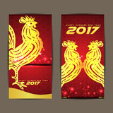 Happy Chinese new year 2017 the year of Chicken and red background Royalty Free Stock Images