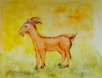 Happy Chinese new year, year of the goat. The dabbing technique near the edges gives a soft focus effect due to the altered surface roughness of the paper royalty free illustration