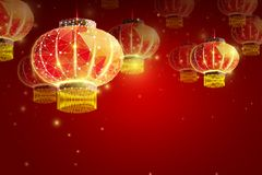 Happy Chinese New Year 2019 year. Low poly wireframe art lamp on red background. Illustration in the form of a starry sky. royalty free illustration
