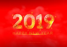 Happy Chinese New Year 2019 year. Low poly wireframe art on red background. Illustration in the form of a starry sky or space. vector illustration