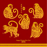 Happy Chinese New Year 2016 Year of Monkey. Oriental Happy Chinese New Year 2016 Year of Monkey Stock Image