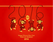 Happy Chinese New Year 2016 Year of Monkey Stock Image