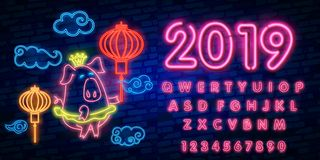 Happy Chinese New Year 2019 year of the pig greeting card in neon style. Chinese New Year Design Template, Zodiac sign for greetin. Gs card, flyers, invitation stock illustration