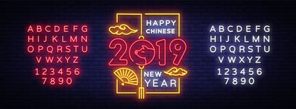 Happy Chinese New Year 2019 year of the pig greeting card in neon style. Chinese New Year Design Template, Zodiac sign. For greetings card, flyers, invitation royalty free illustration