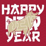 Happy Chinese New Year. Year of the Pig. Pig is a Chinese zodiac symbol of 2019. Translation: year of the pig brings prosperity & good fortune. - Vector eps royalty free illustration