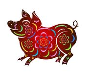Happy  Chinese New Year  2019 year of the pig.  Lunar new year.  Royalty Free Stock Photos