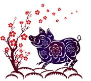 Happy  Chinese New Year  2019 year of the pig.  Lunar new year.  Stock Photo