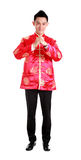 Happy Chinese new year.Young Asian man with gesture of congratul Royalty Free Stock Photo