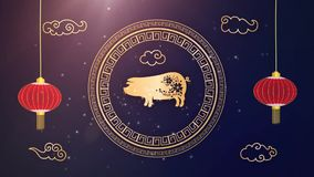 Happy chinese new year 2019 Zodiac sign with gold paper cut art and craft style on color Background. Chinese Translation vector illustration