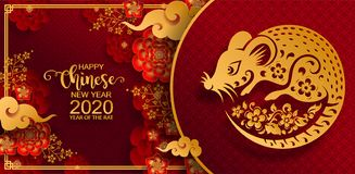 Happy chinese new year 2020. Zodiac sign with gold rat paper cut art and craft style on color Background. Chinese Translation : Year of the rat vector illustration