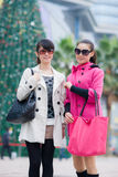 Happy Chinese women go shopping Royalty Free Stock Photo