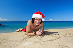 Happy Chistmas on beach Stock Photo