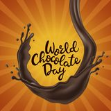Happy Chocolate Day background with melted chocolate swirl Stock Photography