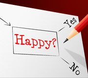 Happy Choice Represents Joy Cheerful And Alternative Stock Photography