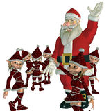 Happy Christmas. 3d rendering of Santa Claus with its elves as illustration Royalty Free Stock Photos