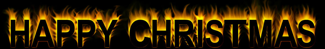 Happy christmas. In abstract fire background Stock Photos