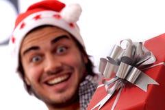 Happy christmas. Present christmas and happy man Stock Photography