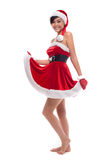 Happy Christmas asian  girl, isolated over white Royalty Free Stock Photos
