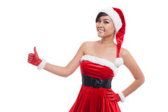 Happy christmas asian model girl on a white background Stock Photography