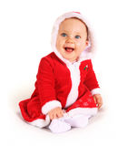 Happy Christmas baby. Cute happy baby in red Christmas clothes isolated on white Stock Photos